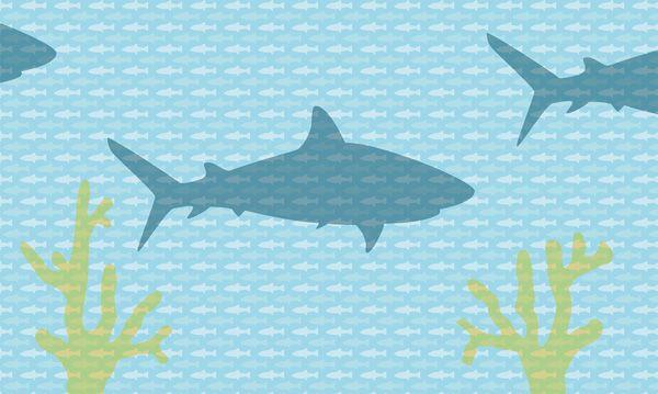 Een oceaan om in te vluchten met dit behang vol haaien, vissen en koraal. De standaard afmeting is 4,50x2,70 meter, maar behang met een eigen wensenpakket kan ook. Vanaf € 340,- www.perron11.nl