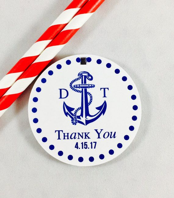 Nautical Gift Tag, Anchor Gift Tags, Nautical Theme, Nautical Wedding Favor Tags, Anchor Tags, Thank you Tags, Customizable Tags, Set of 12