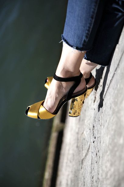 Shoes: tumblr sandals sandal heels high heel sandals gold sandals gold party peep toe heels black