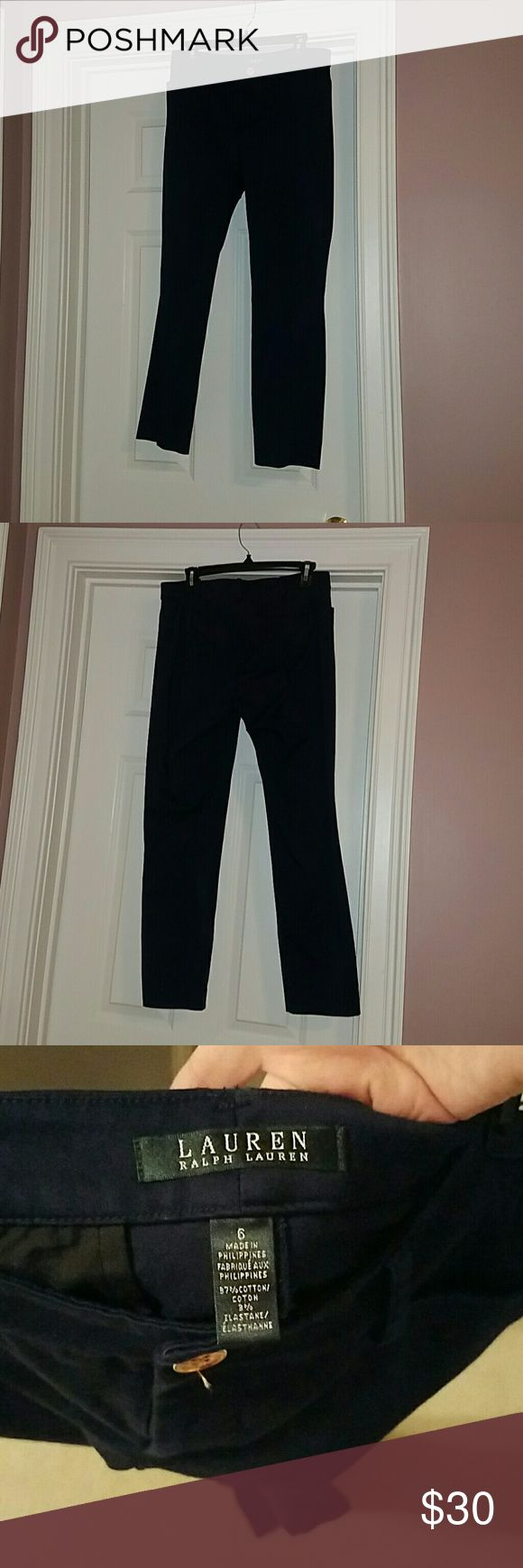 Navy Ralph Lauren Slacks Literally perfect condition so bummed these don't fit me ?? lost weight and only got to wear once. They're perfect and look amazing on very slimming unlick most work pants that i always feel make my legs look huge. So jealous of whoever gets these next Ralph Lauren Pants Trousers