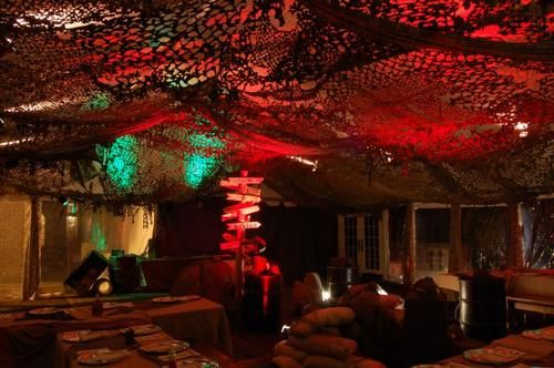 Bunker Style Decor Camo Netting Haning From The Ceiling