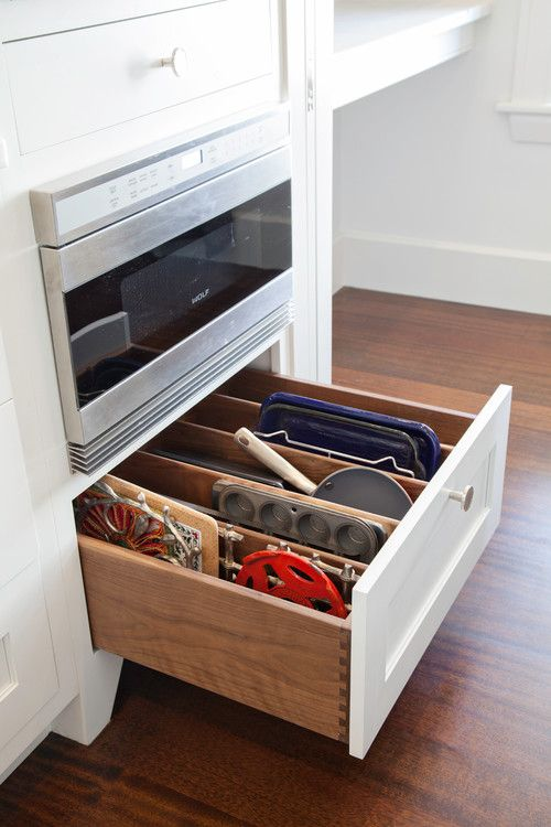 microwave drawer and and a great idea for a place to store and organize flat cookware - 19 Inexpensive Ways To Fix Up Your Kitchen (PHOTOS)