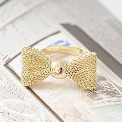 Copper wire mesh bow ring fashion rings