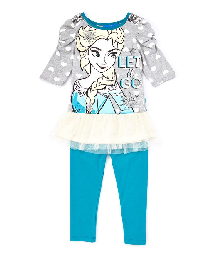 Love this Teal & Gray Frozen Elsa 'Let it Go' Top & Leggings - Girls by Frozen on #zulily! #zulilyfinds