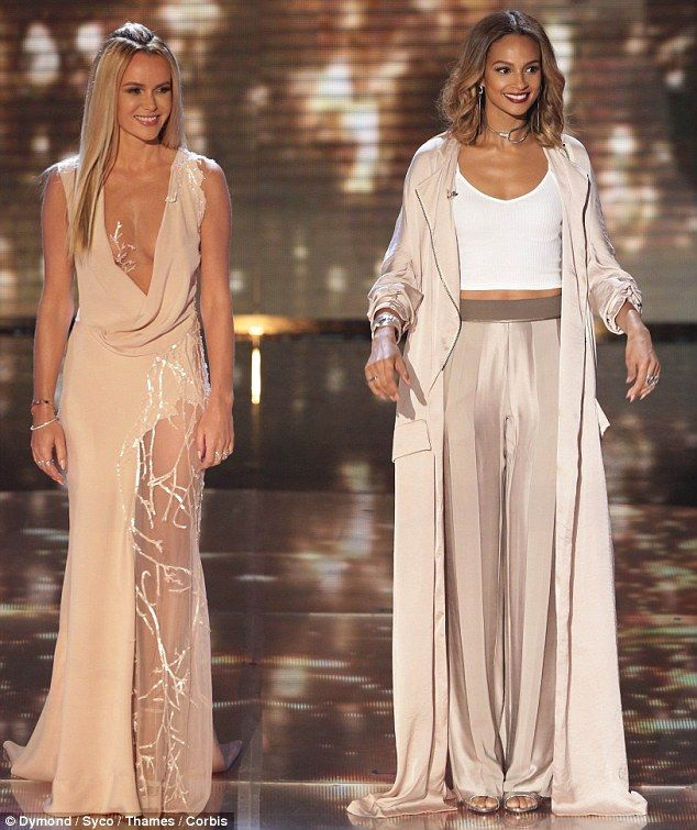 Amanda Holden - Rami Al Ali gown; jewels c/o Theo Fennell, Harry Winston and Saqqara.. Alesha Dixon - Haider Ackermann coat and trousers, Lara Bohinc jewels, and Giuseppe Zanotti heels..