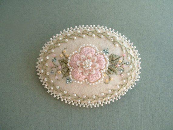 Beaded Embroidery Felt Pin via Etsy