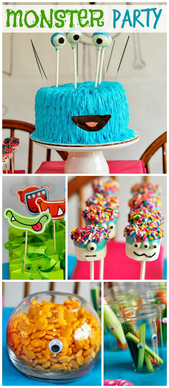 A monster themed girl birthday party with a fun cake, marshmallow pops and hand drawn backdrop! See more party planning ideas at CatchMyParty.com!