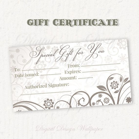 Gift Certificate PrintableGift CardPrintable by DigitalDesignPaper