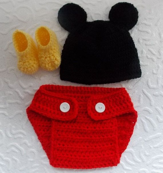 Crochet Mickey Mouse outfit-Mickey Mouse crochet outfit-newborn,3-6mo,6-9mo,9-12,12-24 months,hat,diaper,booties-newborn Halloween costumes on Etsy, $18.00