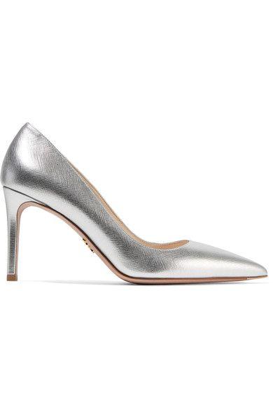 Prada - Metallic Textured-leather Pumps - Silver - IT36.5