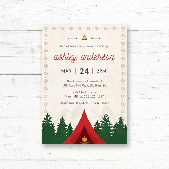 Camping Baby Shower Printable Invitation by CrissyDesignCo on Etsy