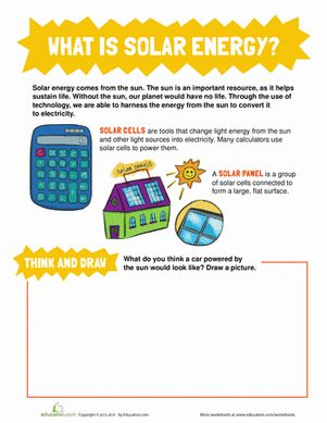 Third Grade Physical Science Worksheets: What is Solar Energy