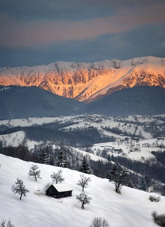 Rucar Bran Romania winter Bucegi mountains Carpathians beautiful natural european scenery Piatra Craiului