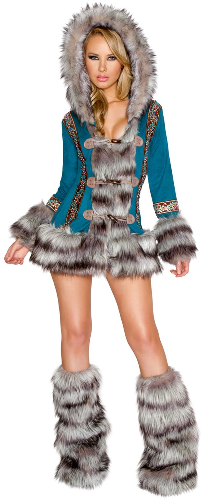 Turquoise Eskimo Costume JV-CC227 Eskimo Costume features a blue long sleeve coat with gray furry trim, multiple toggle closure and attached hood with gray fur trim. Made in USA and made of polyester, spandex and faux fur.