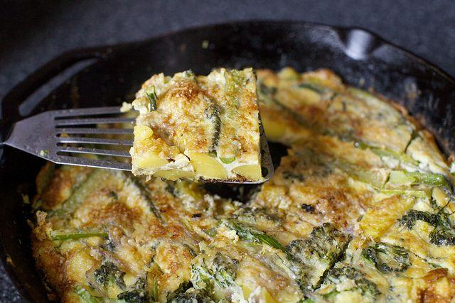 potato and broccolini frittata with parmesan