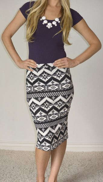 We are loving this tribal print pencil skirt!