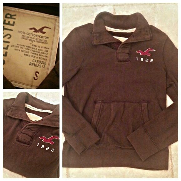 Men's Hollister unisex super soft rugby shirt HOLLISTER super soft and sexy short in excellent condition. Has front kangaroo pockets. Color is a soft chocolate. All of my items come from extremely clean non-smoking non-pet home and laundered only in eco-friendly detergent Hollister Tops Sweatshirts & Hoodies