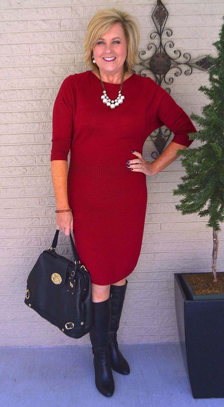 50 IS NOT OLD | LADY IN RED | Sweater dress | Church Attire | Dress + Boots | Transition Outfit | Fashion over 40 for the everyday woman