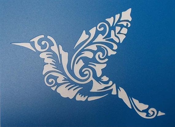 Bird Flourish Stencil by kraftkutz on Etsy