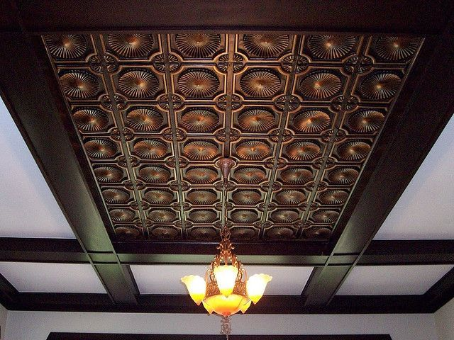 Faux Tin Ceiling Tile 106 Antique Copper By Talissa Decor Ceilings Via Flickr Faux Tin Ceiling Faux Tin Ceiling Tiles Tin Ceiling