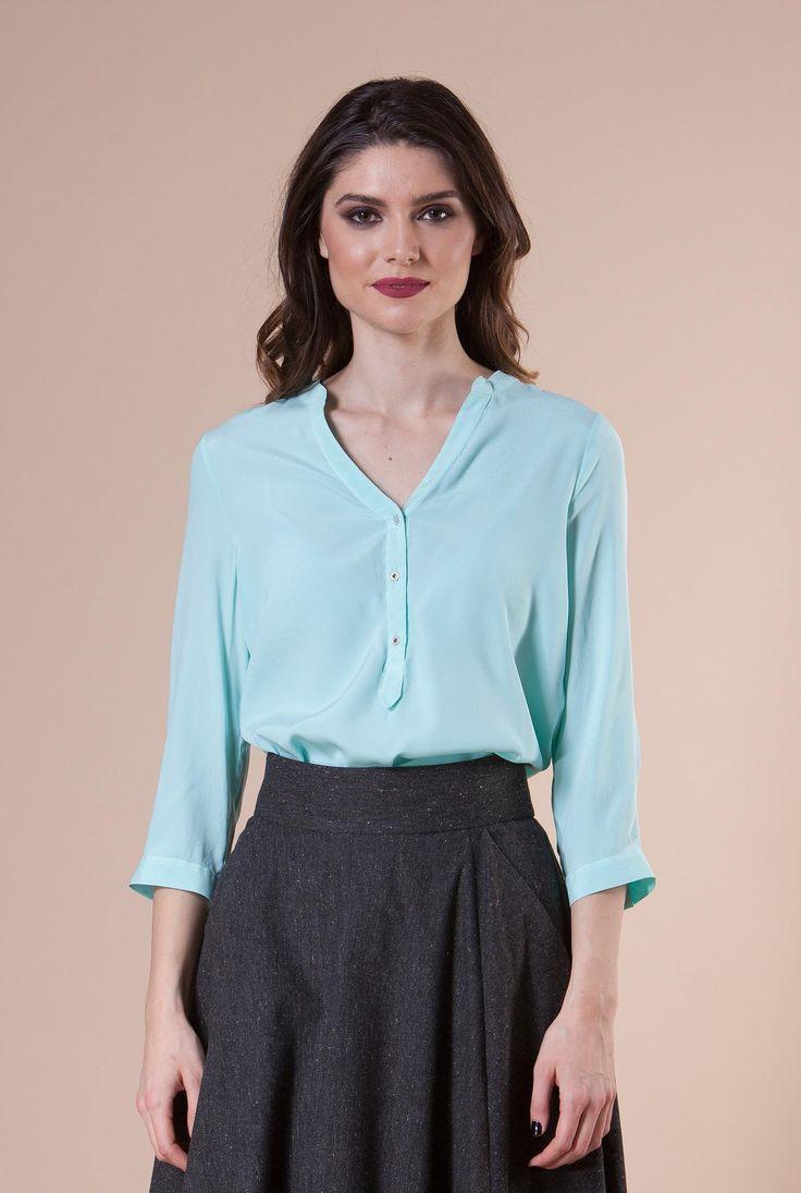 Camasa turquoise din matase THEA de la Ama Fashion