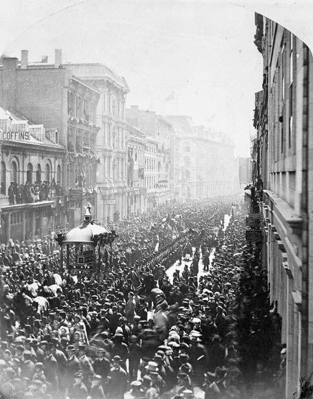 Cortège funèbre lors des funérailles de l'honorable Thomas D'Arcy McGee. Montréal (Canada). 13 avril 1868
