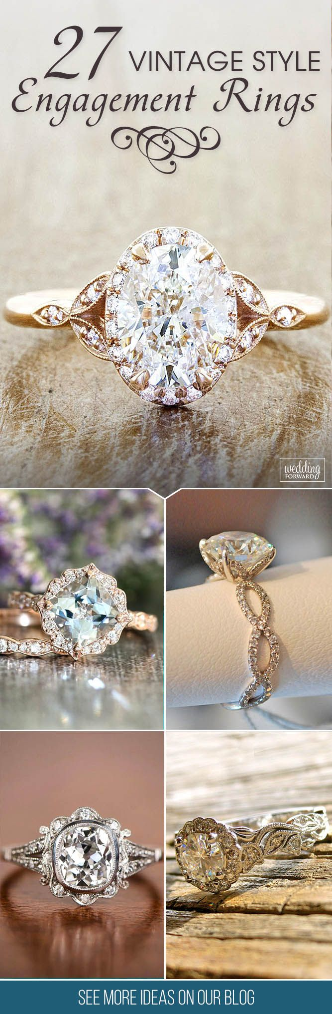 27 Vintage Engagement Rings With Stunning Details ❤ Vintage engagement ring has elegant and romantic shape with sophisticated enchanting details that will be stunning on her finger. See more: http://www.weddingforward.com/vintage-engagement-rings/ #wedding #engagement #rings #vintage