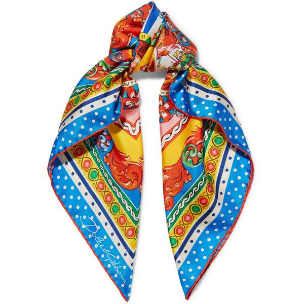 Dolce & Gabbana Carretto printed silk-twill scarf found on Polyvore featuring accessories, scarves, red, multi colored scarves, red shawl, colorful scarves, red scarves and colorful shawl