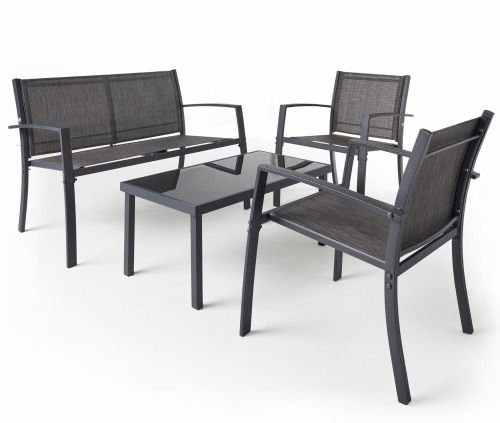 Patio Furniture 4 Piece Dining Bistro Set Garden Table & Chairs Grey Textoline  #Unbranded