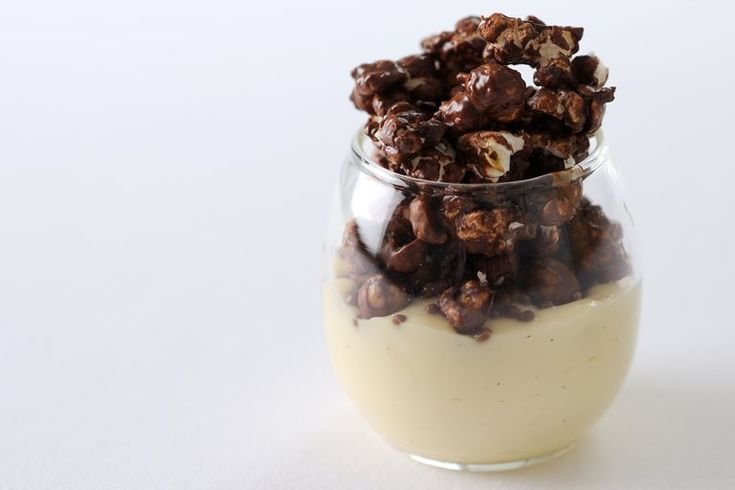 Chocolate peanut popcorn is accompanied by coconut custard in this quirky popcorn recipe from Paul Ainsworth, as seen on Great British Menu