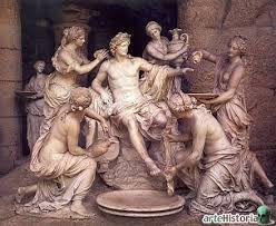 Escultura grupal, material usado la piedra , textura lisa color blanco y acabado brillante