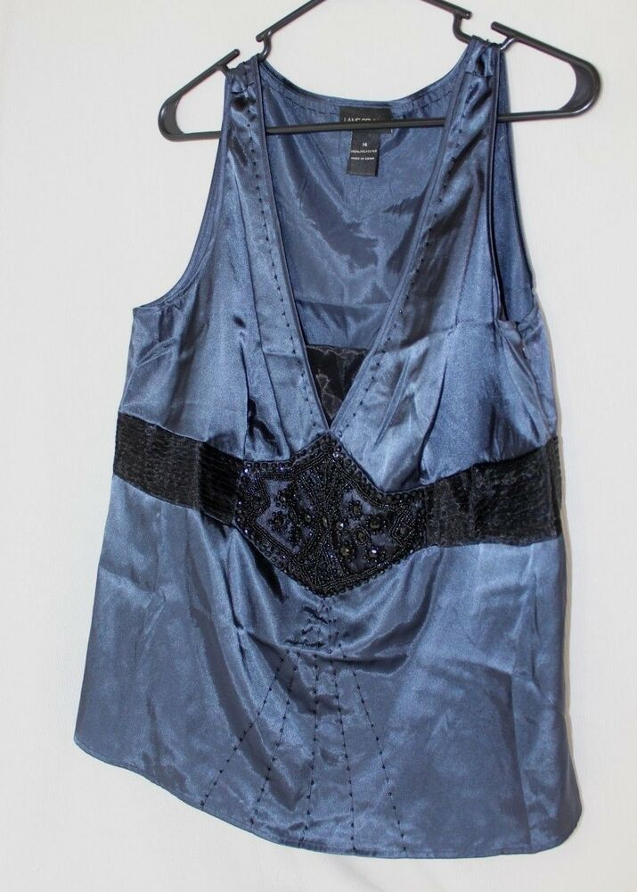 1d4d17301c05d Details about Lane Bryant Womens Sleeveless Blouse Plus Size 14 Dark Blue  Black Embellished in 2019