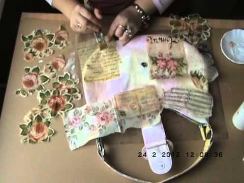 Decoupaged Bag Tutorial Part 1 - YouTube