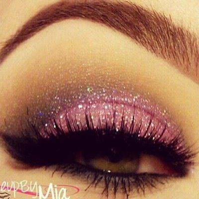 Pretty pink glittery eye makeup