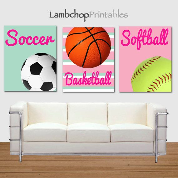 Girl Sports Printable Art, Basketball print, Soccer print, softball Print by LambchopPrintables, $15.00