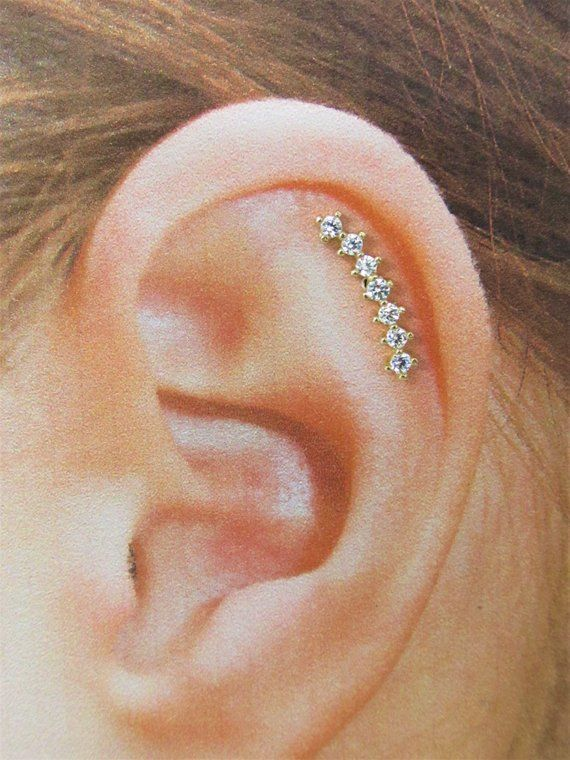 14k Solid Gold Helix Cartilage 7 Cz Labret Ring 16g 6mm Nickel Free Labret Ring 14k Solid Gold Solid Gold