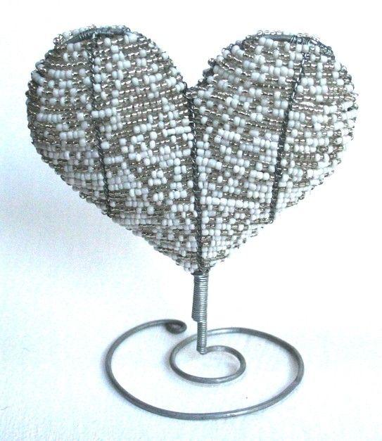 Beaded Art Heart on stand