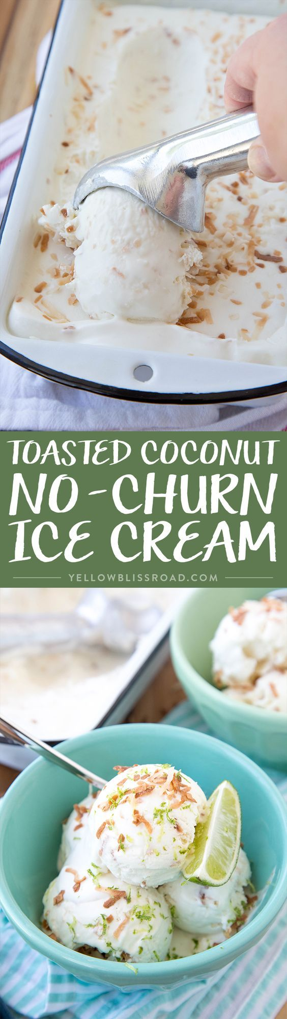 Toasted Coconut No Churn Ice Cream - Just 4 delicious ingredients and no ice cream maker required!
