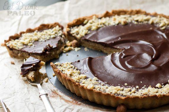 Paleo treats: Choc-Hazelnut Salted Caramel Tart Recipe | Eat Drink Paleo