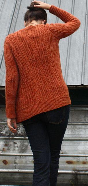 White Pine cardigan pattern by Amy Christoffers (knitting, v-neck, cables, raglan, bottom-up, savory knitting)