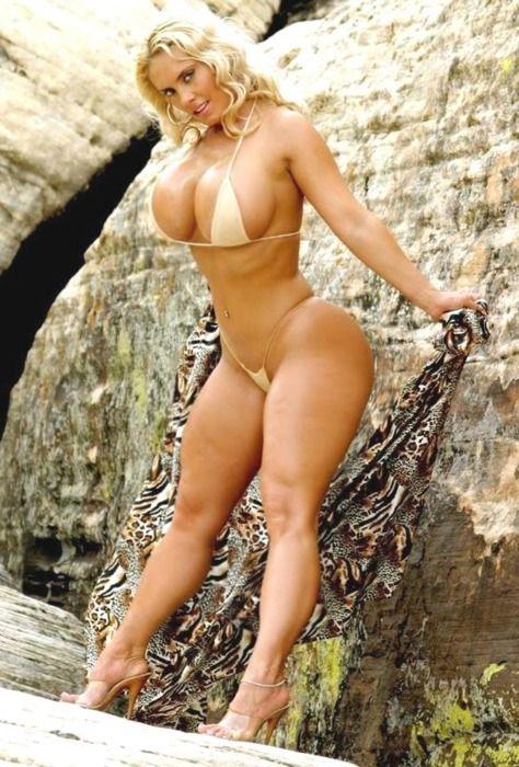obese woman in bikini on beach