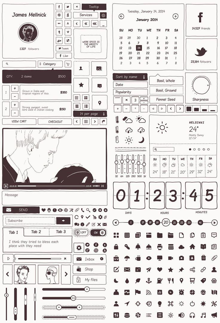 Basiliq - Beautiful Freehand Vector UI Kit for Wireframes