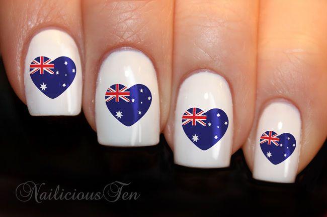 Australian Flag Lovehearts Nail Wraps Art Water Transfer Decal