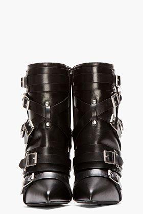 SAINT LAURENT Black Leather Buckled Paris Boots