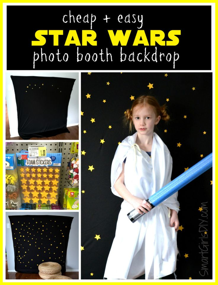 Cheap and easy DIY Star Wars photo booth backdrop for birthday parties