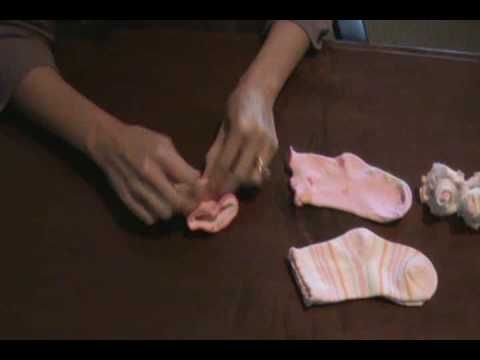 How to Make A Baby Sock Rose Baby Gift Idea
