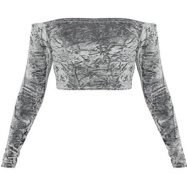 Chrissi Grey Crushed Velvet Bardot Crop Top ($21) ❤ liked on Polyvore featuring tops, crop top, crushed velvet top, grey top, gray crop top and cut-out crop tops