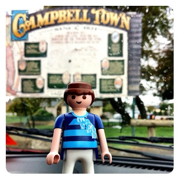 Here I am at one of stops on the road in Tasmania. Campbell Town is in the Northern Midlands, originally established in 1821 by Governor Macquarie as one of the four garrison town and probation stations between Hobart and Launceston. With a rich heritage, travel through the small towns is very interesting.