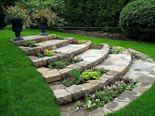 Beautiful steps in garden ... this would work in our back yard with its natural slope... I'm thing how cool would it be to have half of it as part of a recirculating water feature though! :)