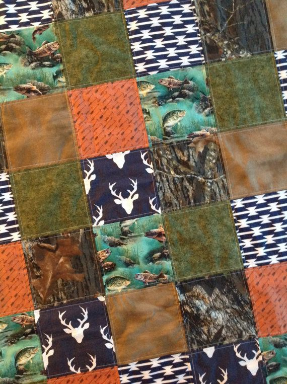 Baby Quilt-Patchwork-Personalized Baby Quilt-Hunting by bbsprouts